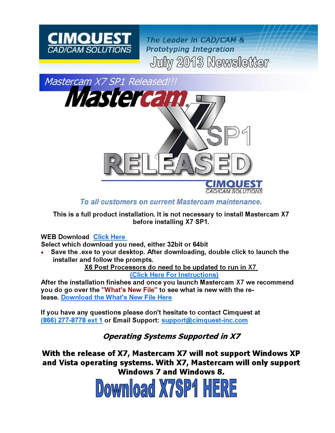 Cimquest Cad/Cam Solutions Mastercam July 2013 by Cimquest