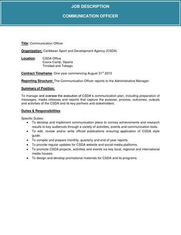 Communication Officer Job Description By Csda Issuu