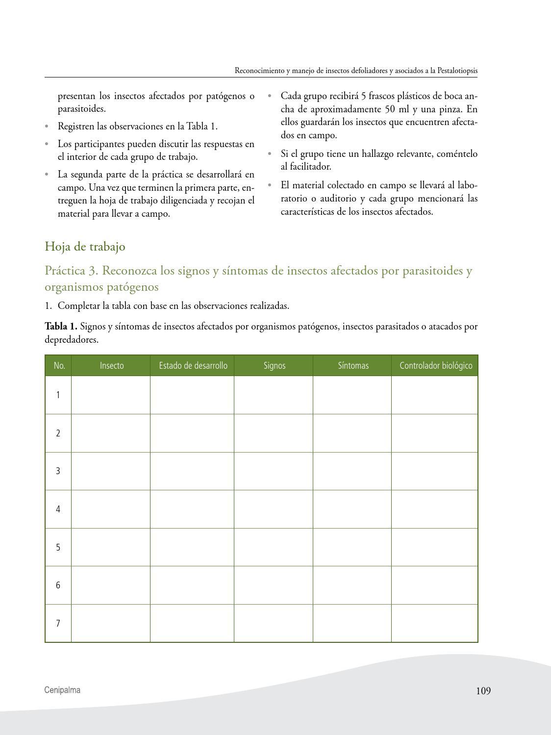 Guía de reconocimiento y manejo de insectos defoliadores y asociados ...