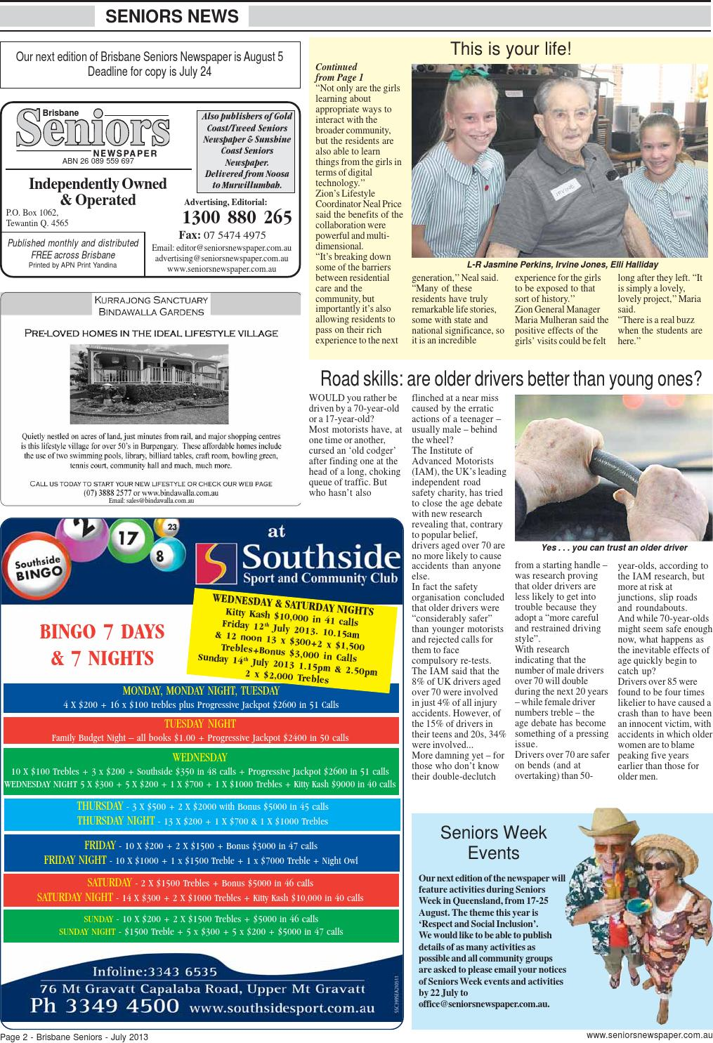 Brisbane seniors newspaper july 2013 by Seniors Newspapers