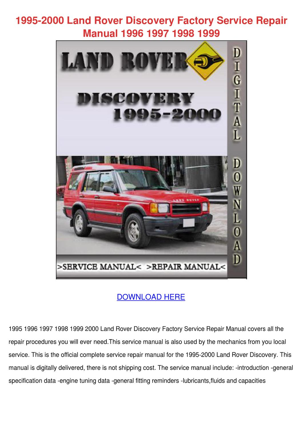 1995 2000 Land Rover Discovery Factory Servic by BevArthur - issuu