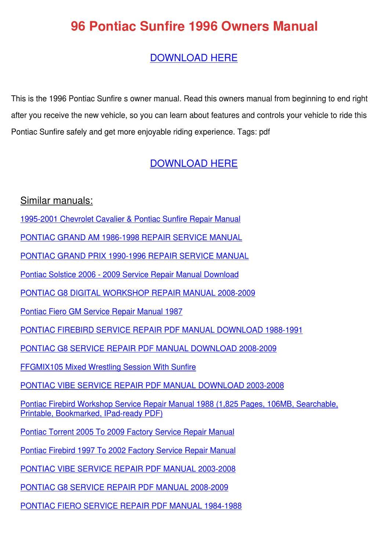 PONTIAC GRAND AM OWNER S MANUAL Pdf Download