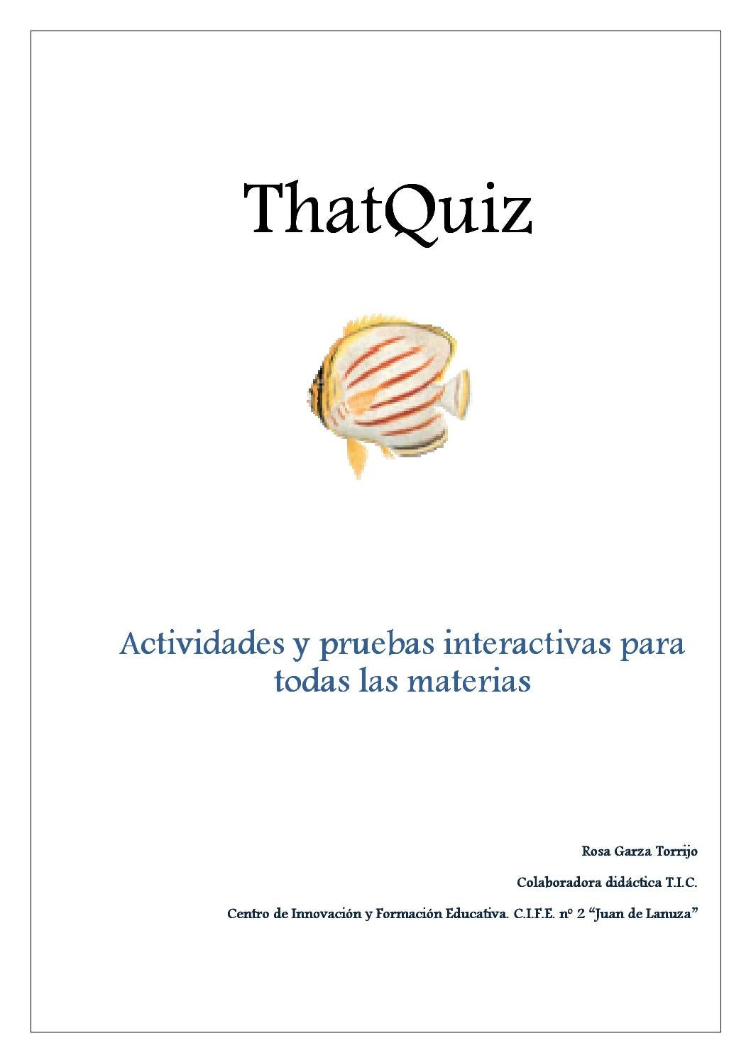 That Quiz Manual By Rosa Garza Issuu Sample test screen • any quiz you create on thatquiz can be printed and copied if you prefer a paper. issuu