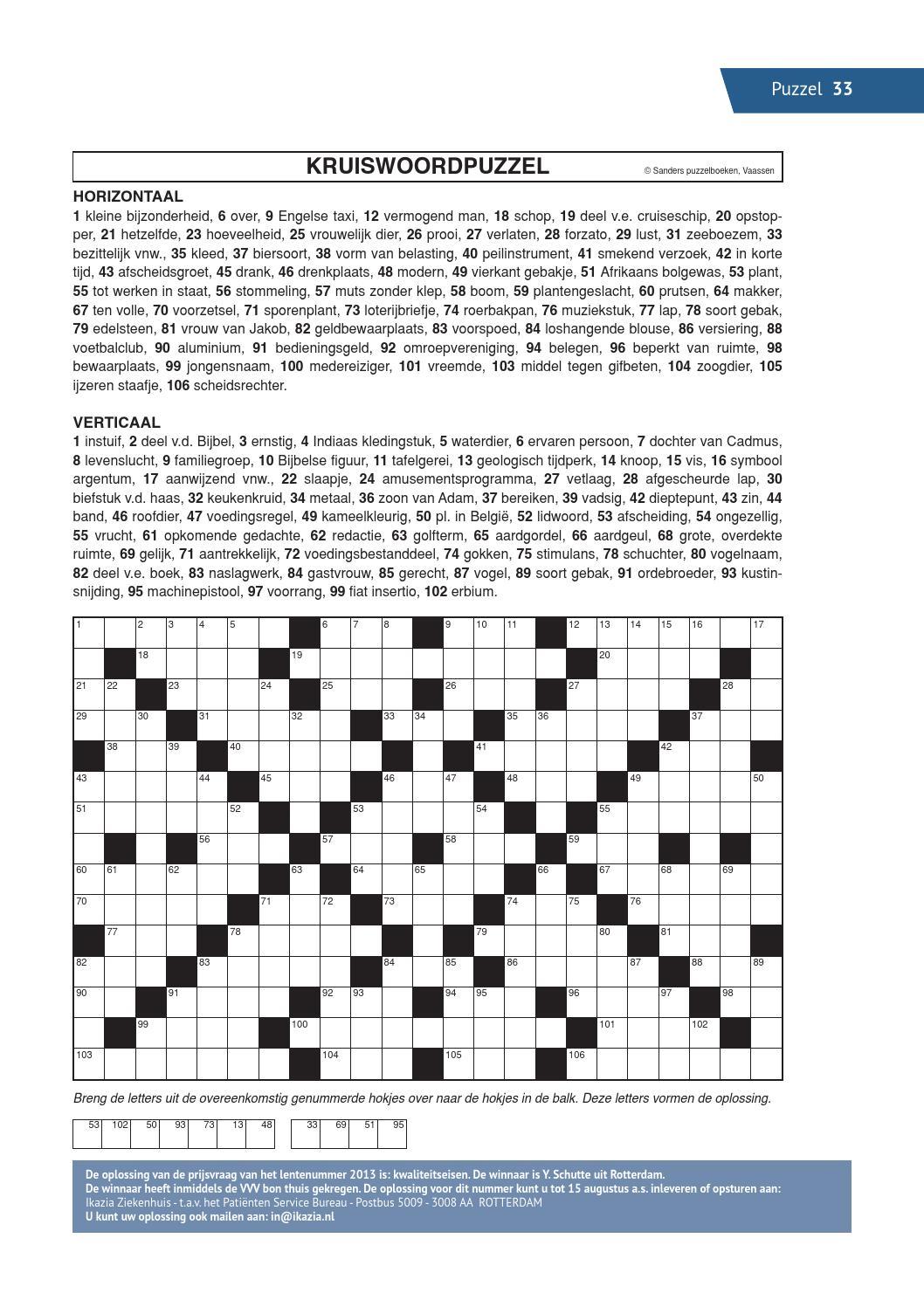 Afbeeldingsresultaat voor kruiswoordpuzzel sanders