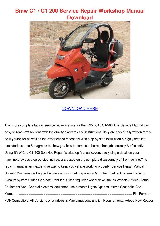 bmw c1 200 repair manual pdf download
