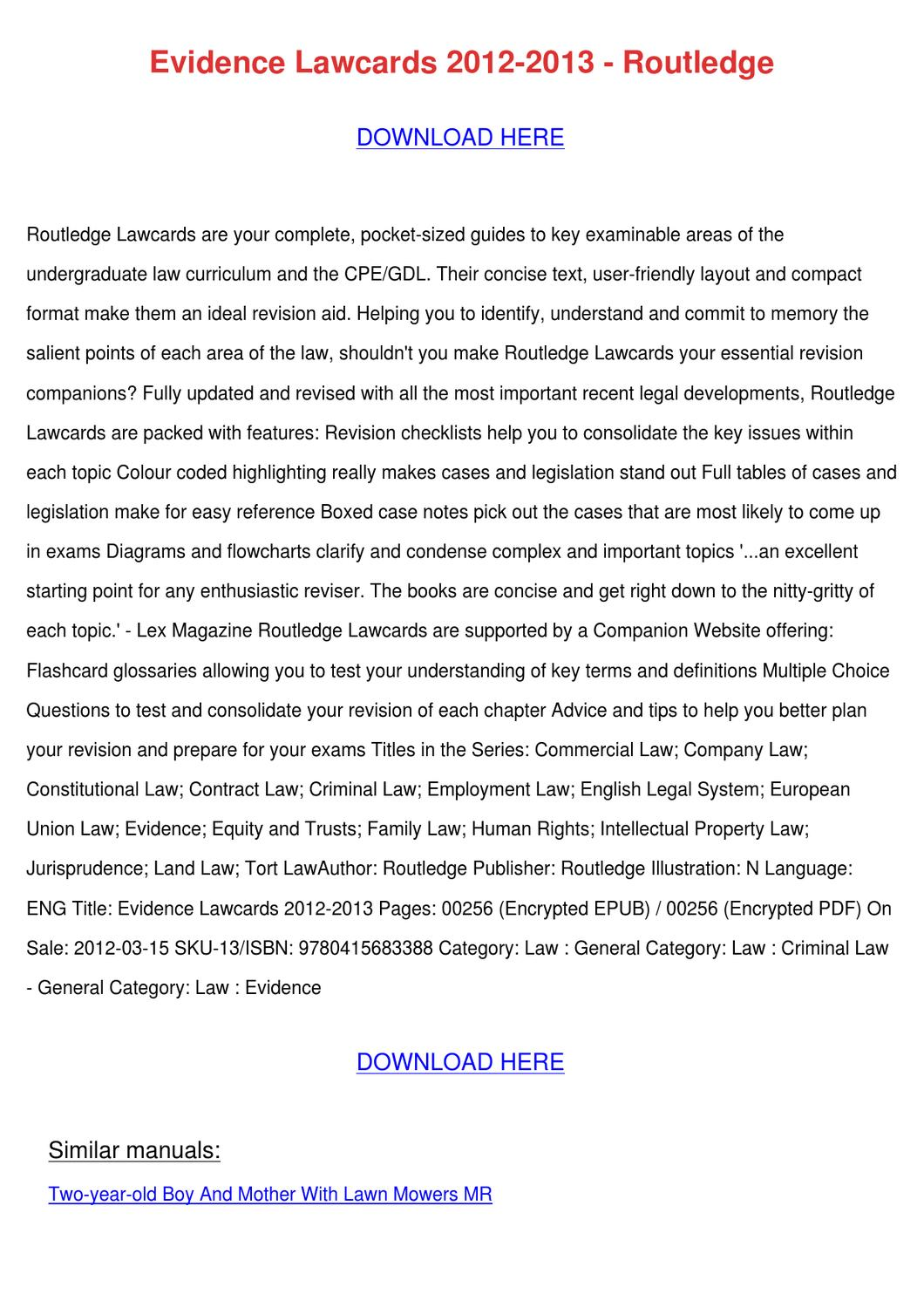 Evidence Lawcards 2012 2013 Routledge by JurgenHembree - issuu