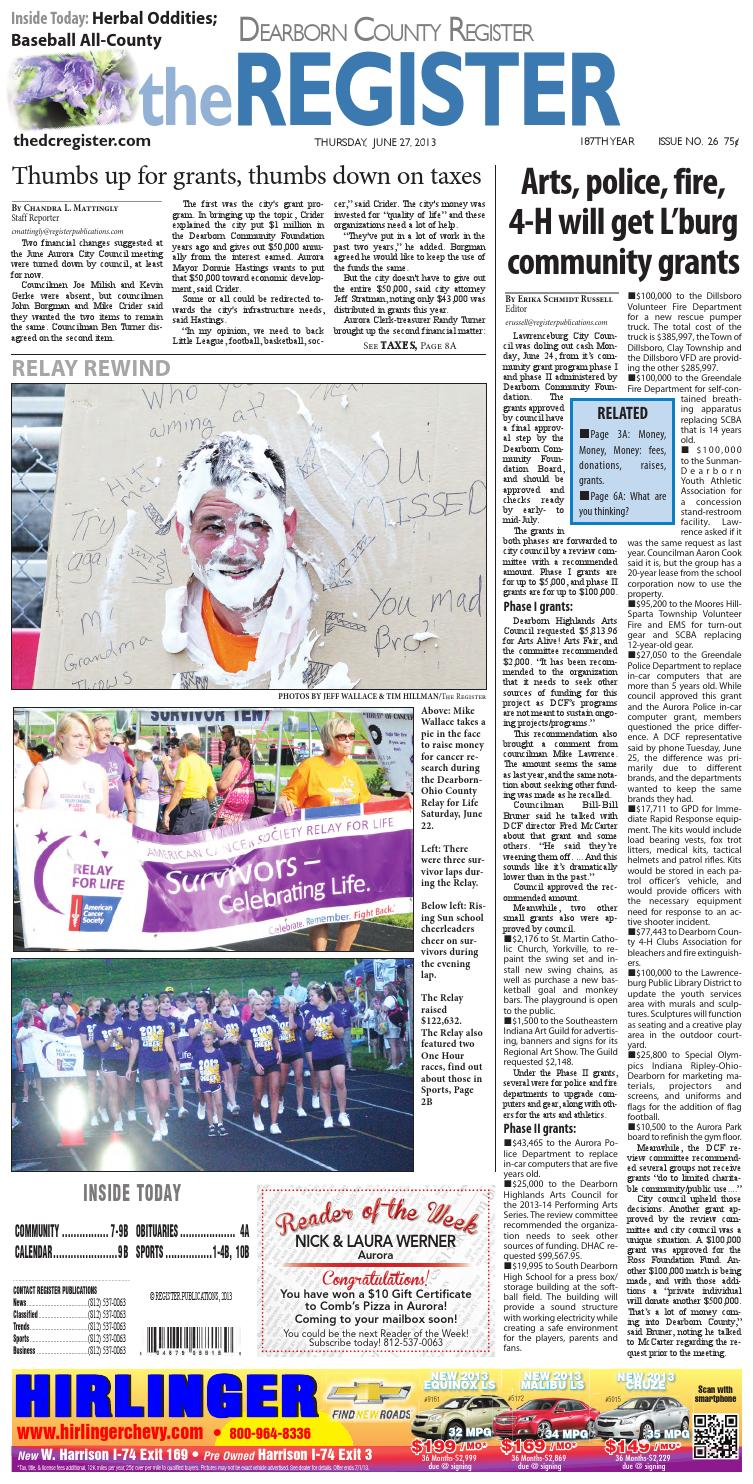 The dearborn county register 6 27 13 by Denise Freitag
