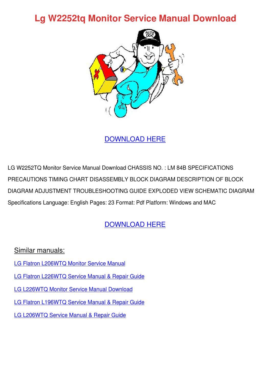 Lg flatron w2252tq Monitor manual