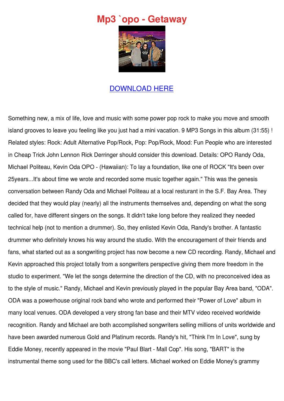 Mp3 Opo Getaway by SoniaSabo - issuu
