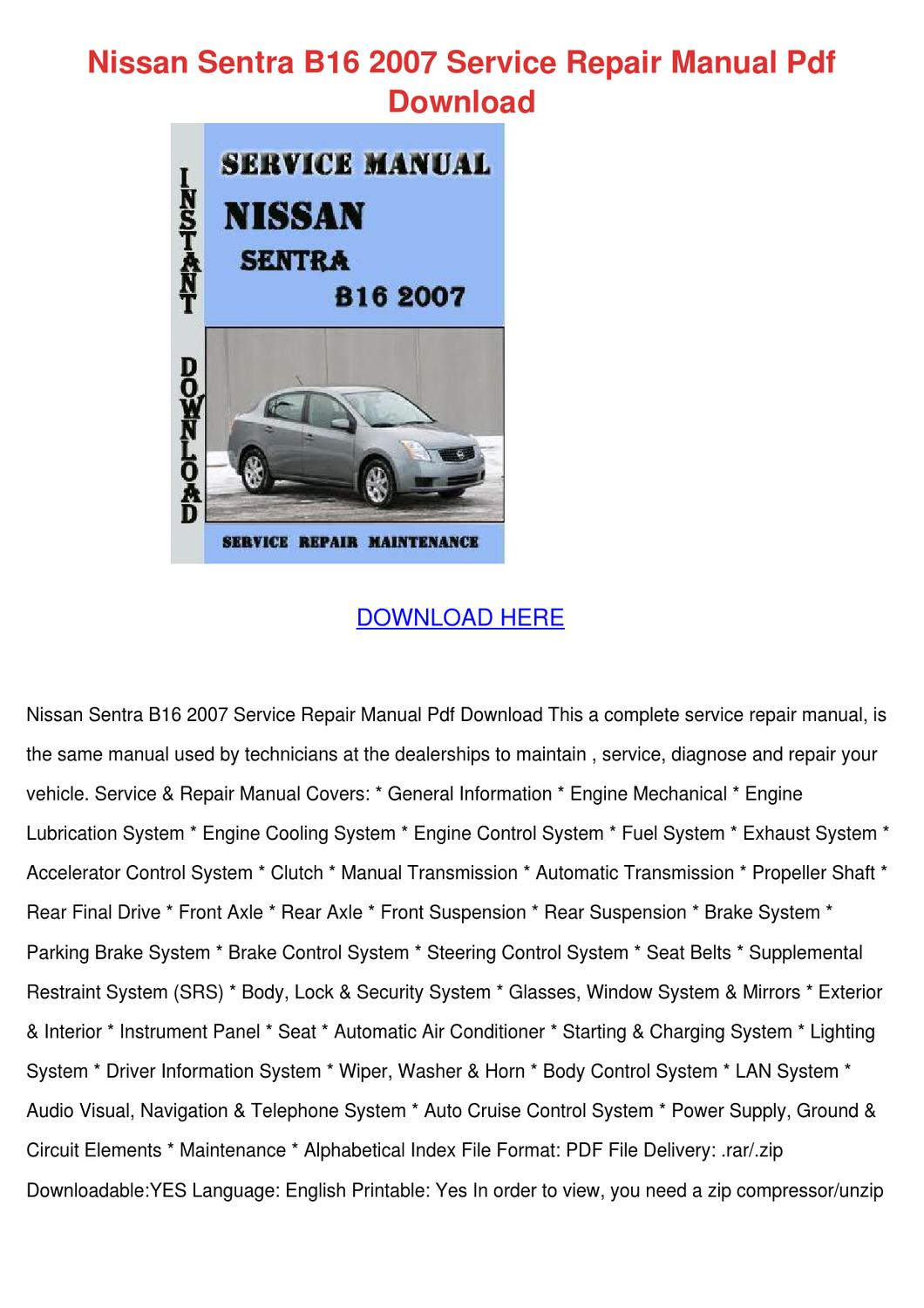 Nissan Sentra Service Manual: Power supply and ground circuit