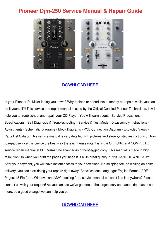 Pioneer Djm 250 Service Manual Repair Guide by ElizaCourtney - issuu