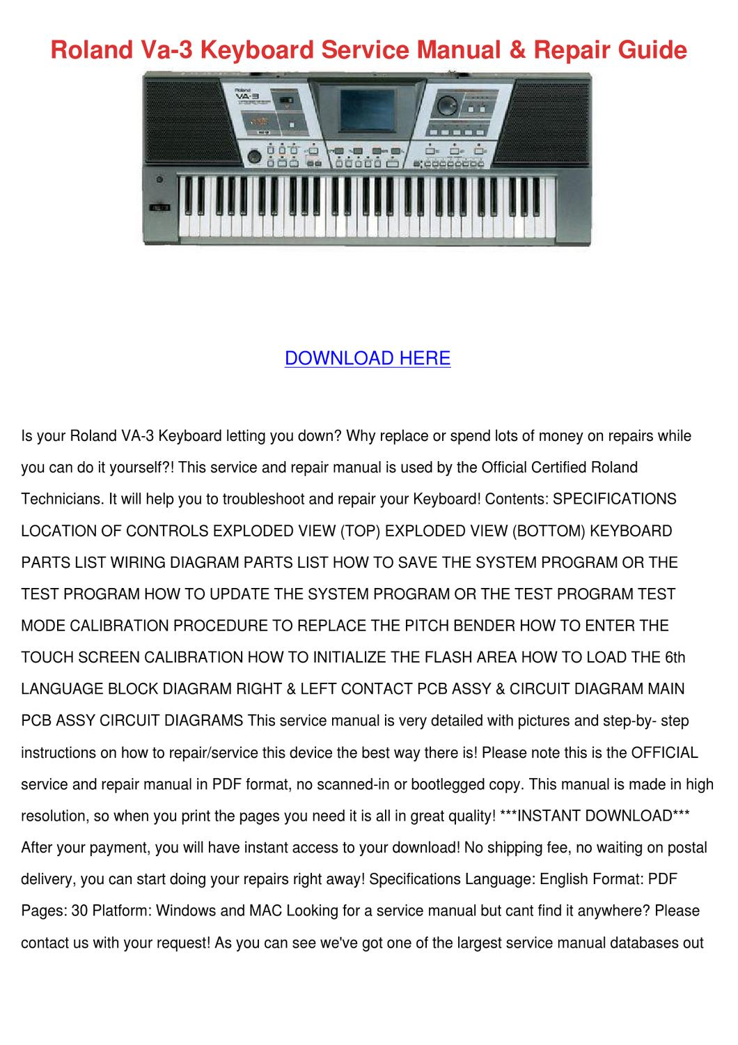 Super Roland Va 3 Keyboard Service Manual Repair Gu By Paulaoldham Issuu Wiring Digital Resources Jebrpcompassionincorg