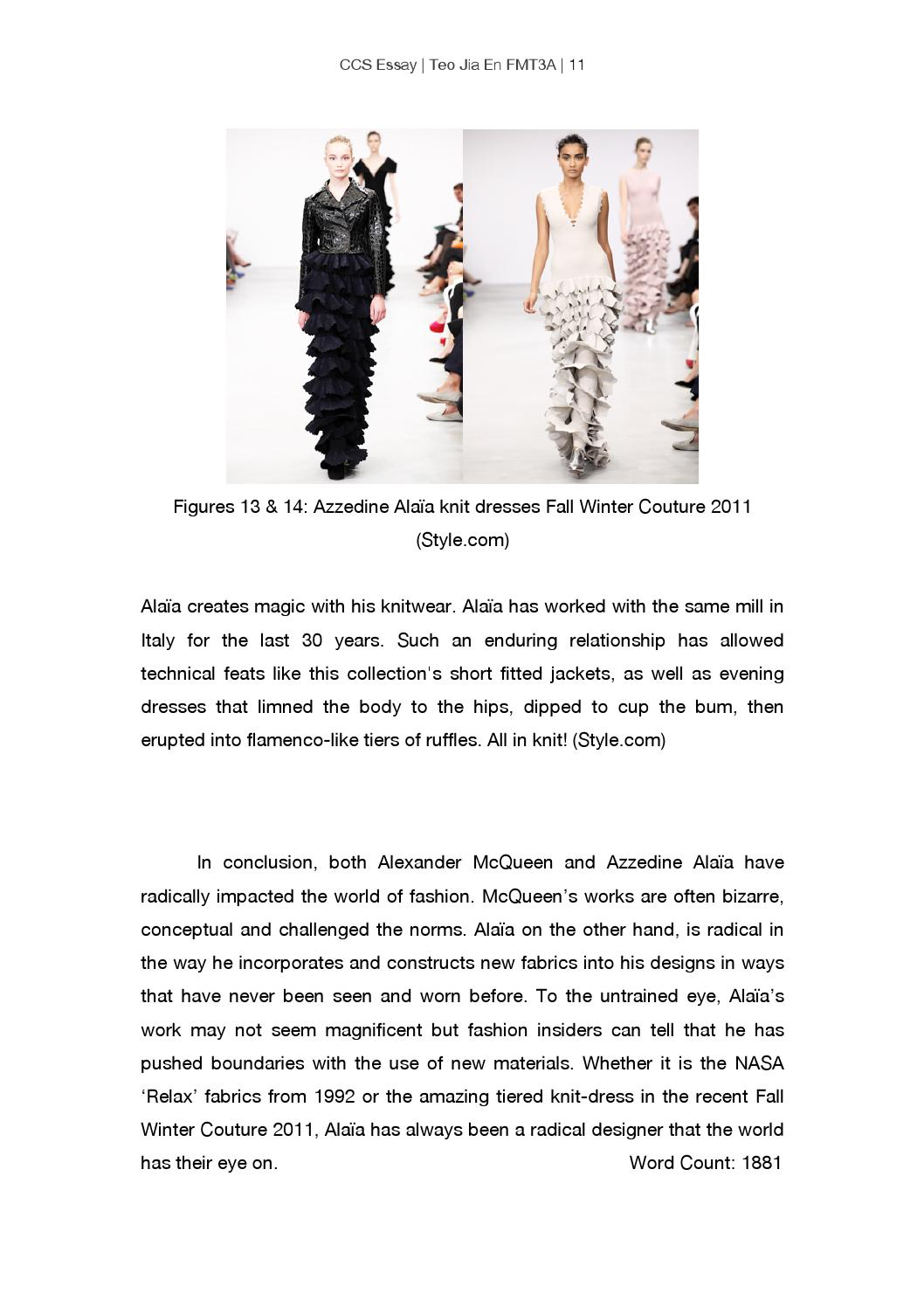 Define What Is Fashion And Radical Fashion Essay Case Studies Alexander Mcqueen And Azzedine Alaia By Ena Teo Jia En Issuu