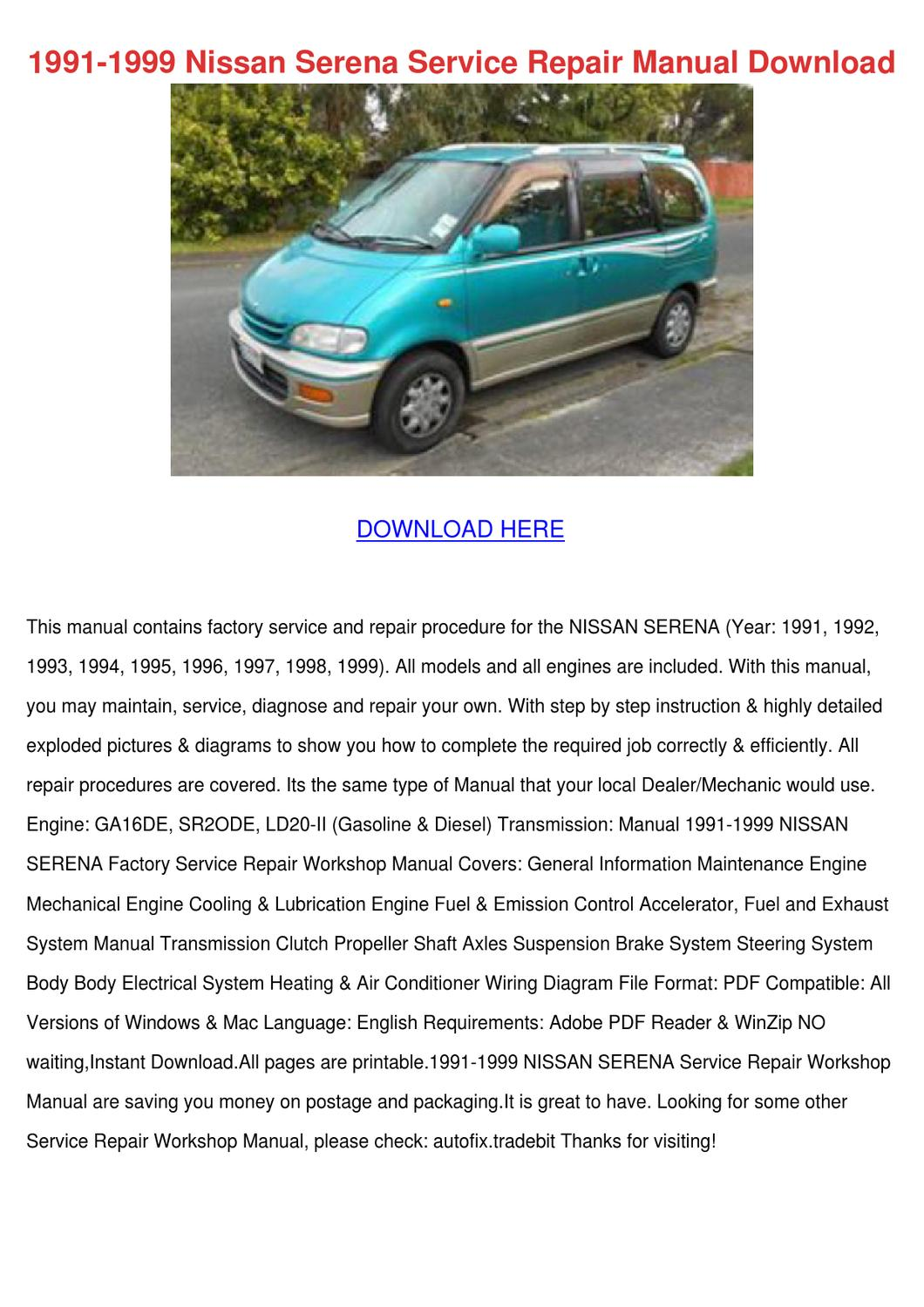 1991 1999 Nissan Serena Service Repair Manual by SuzetteSeymore ...