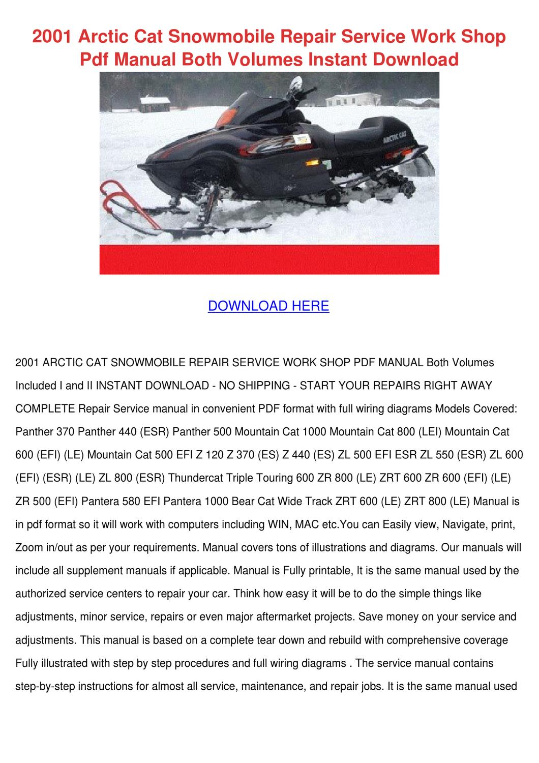 2001 arctic cat snowmobile repair service wor by. Black Bedroom Furniture Sets. Home Design Ideas