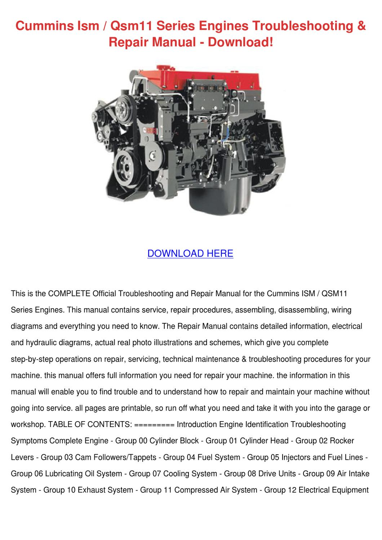 Cummins Ism Qsm11 Series Engines Troubleshoot by