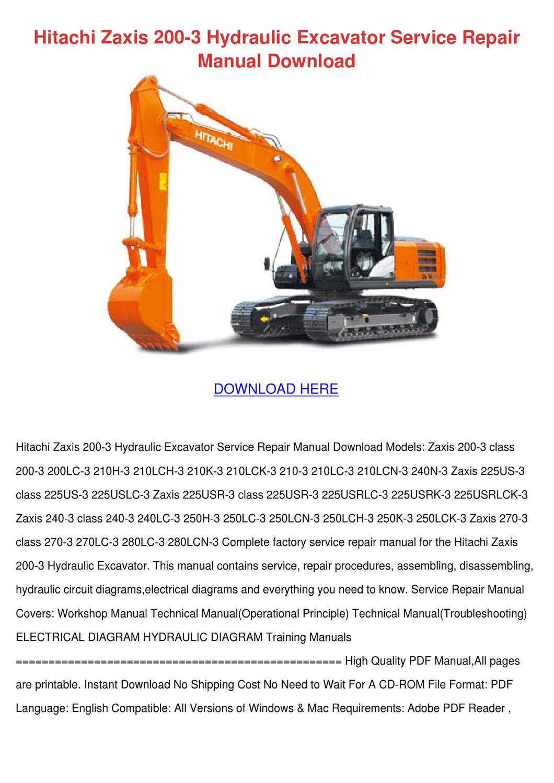 Hitachi Zaxis 200 3 Hydraulic Excavator Servi by