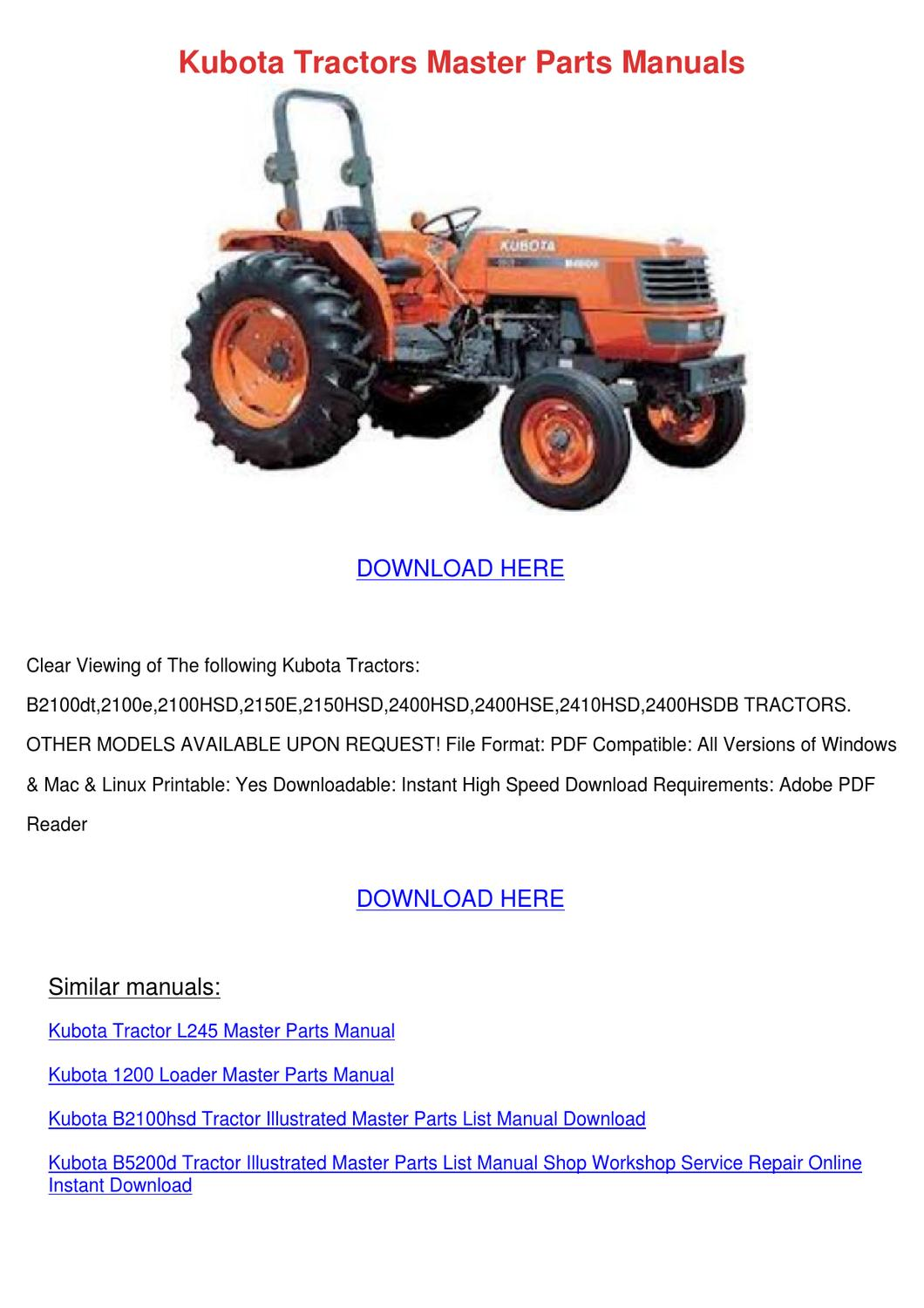 kubota tractors master parts manuals by hannahcoble issuu. Black Bedroom Furniture Sets. Home Design Ideas