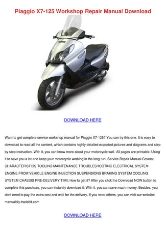 piaggio beverly 125 e3 full service repair manual 2007 2010