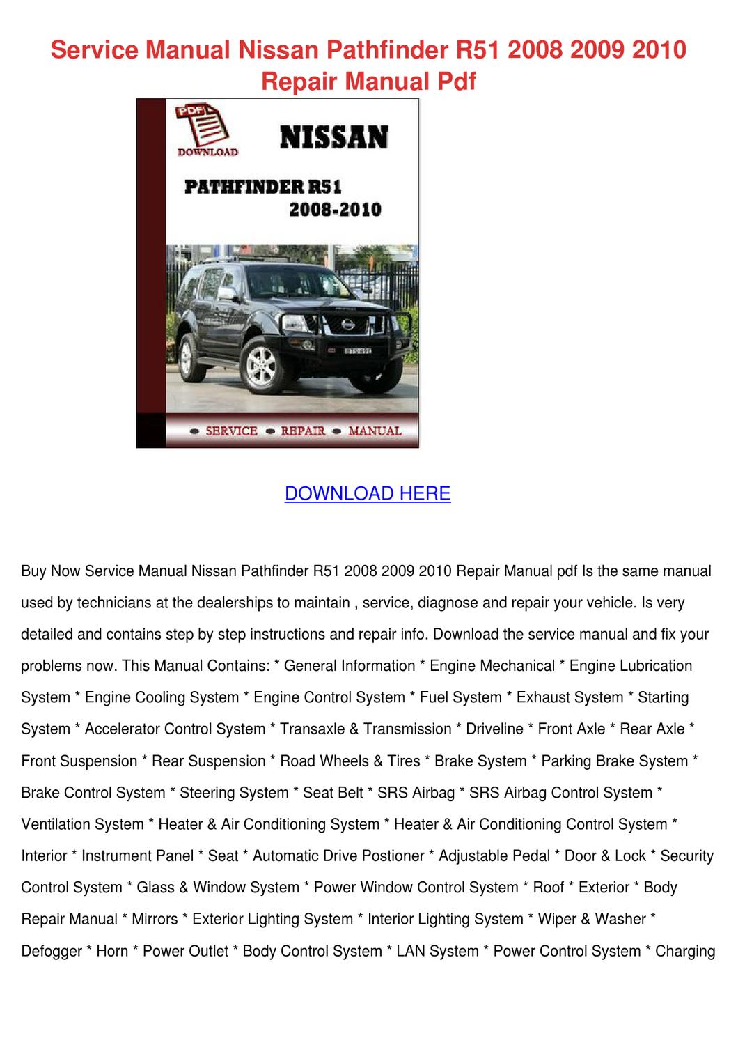 service manual nissan pathfinder r51 2008 200 by jessgriffis issuu rh issuu com nissan pathfinder 2008 service manual download 2006 Nissan Pathfinder Manual