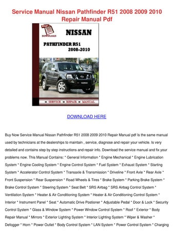 service manual nissan pathfinder r51 2008 200 by jessgriffis issuu rh issuu com 1999 nissan pathfinder shop manual 1999 nissan pathfinder repair manual pdf