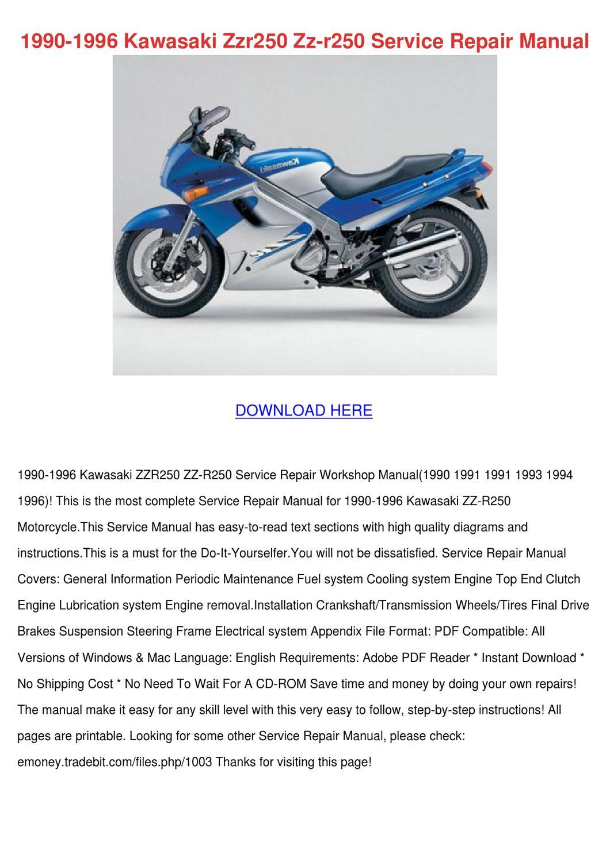 1990 1996 Kawasaki Zzr250 Zz R250 Service Rep by ErnieBroyles - issuu