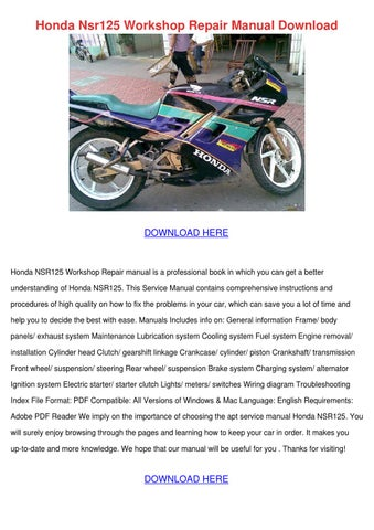 Honda nsr125 workshop repair manual download by sasharatcliff issuu page 1 honda nsr125 swarovskicordoba Image collections