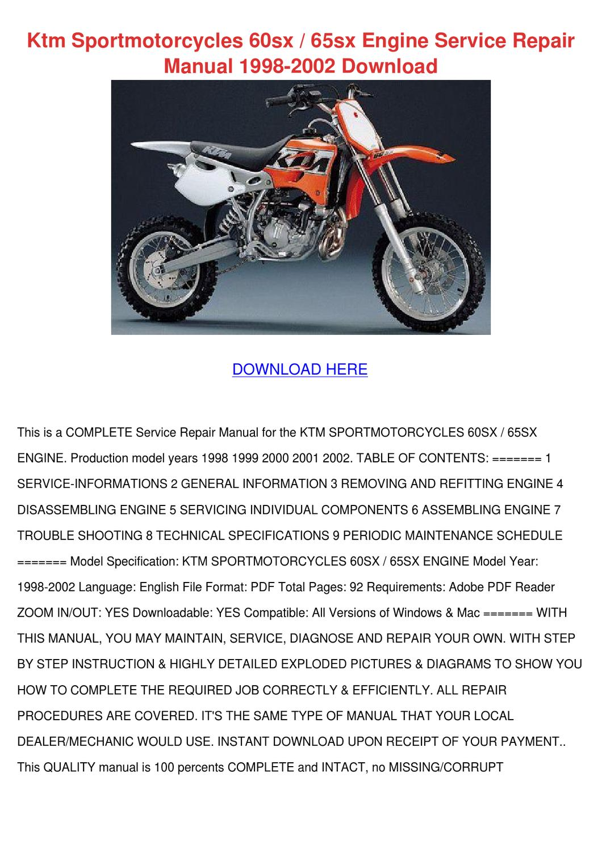 Ktm Sportmotorcycles 60sx 65sx Engine Service by KayleeGerard - issuu