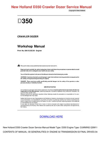 New Holland D350 Crawler Dozer Service Manual by LashawnJorgenson ...