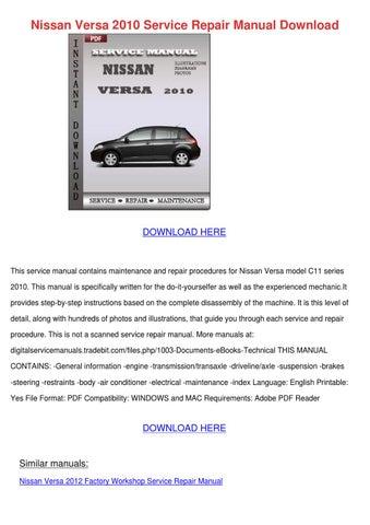 Nissan Versa 2010 Service Repair Manual Downl by LashawnJorgenson ...
