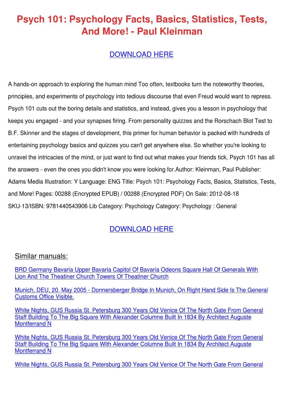 Psych 101 Psychology Facts Basics Statistics by LashawnJorgenson - issuu