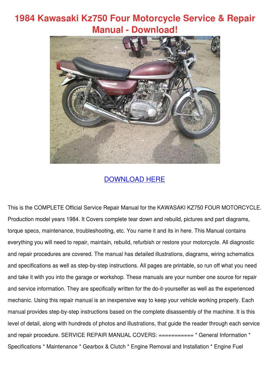 [SCHEMATICS_48ZD]  1984 Kawasaki Kz750 Four Motorcycle Service R by JoeyGabbard - issuu | Kz750 Four Wiring Diagram |  | Issuu