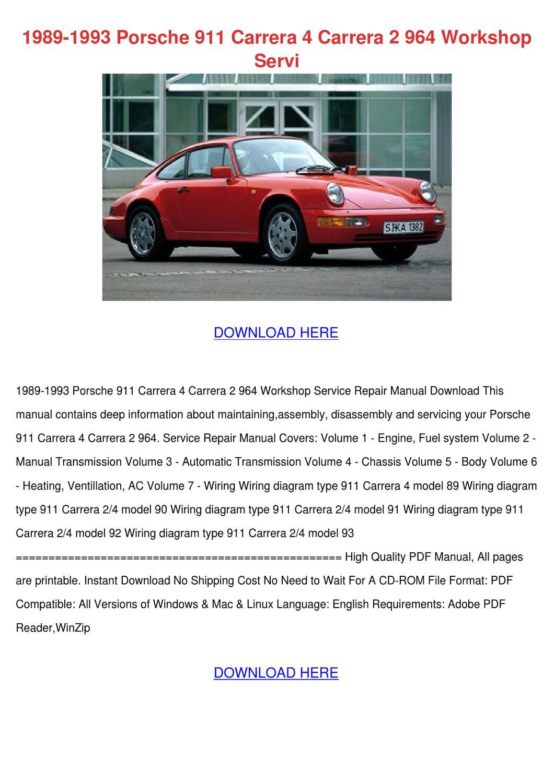 1989 1993 Porsche 911 Carrera 4 Carrera 2    964    by