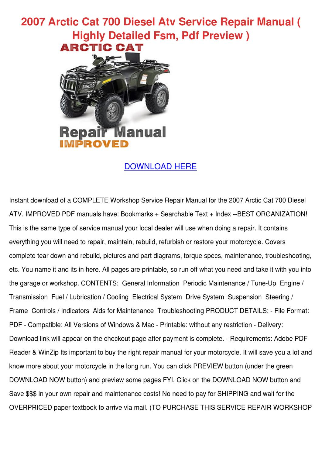 2007 Arctic Cat 700 Diesel Atv Service Repair By
