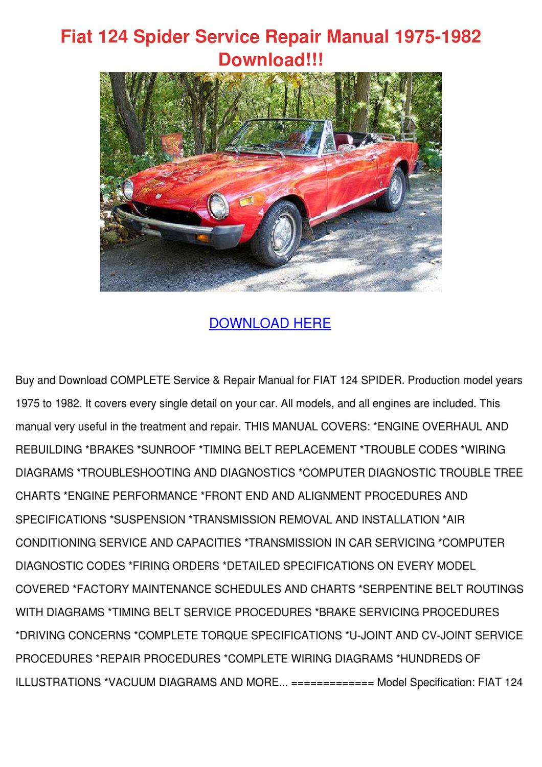 Fiat 124 Spider Service Repair Manual 1975 19 by ...