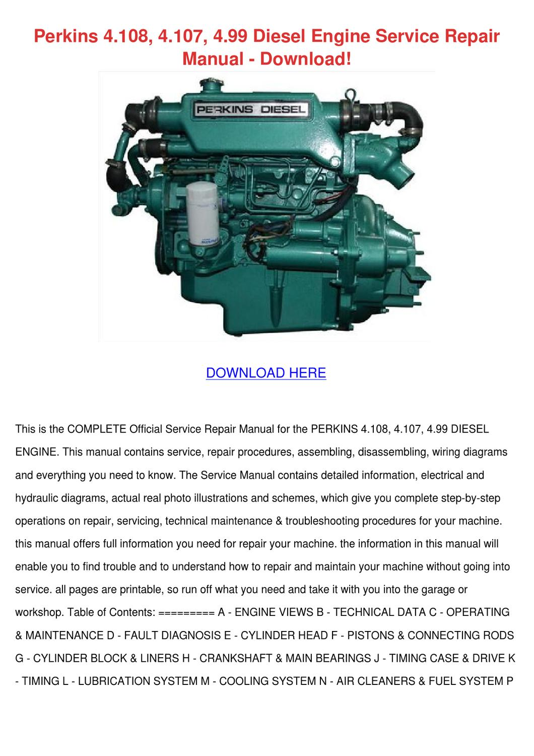 Perkins 4108 4107 499 Diesel Engine Service R By
