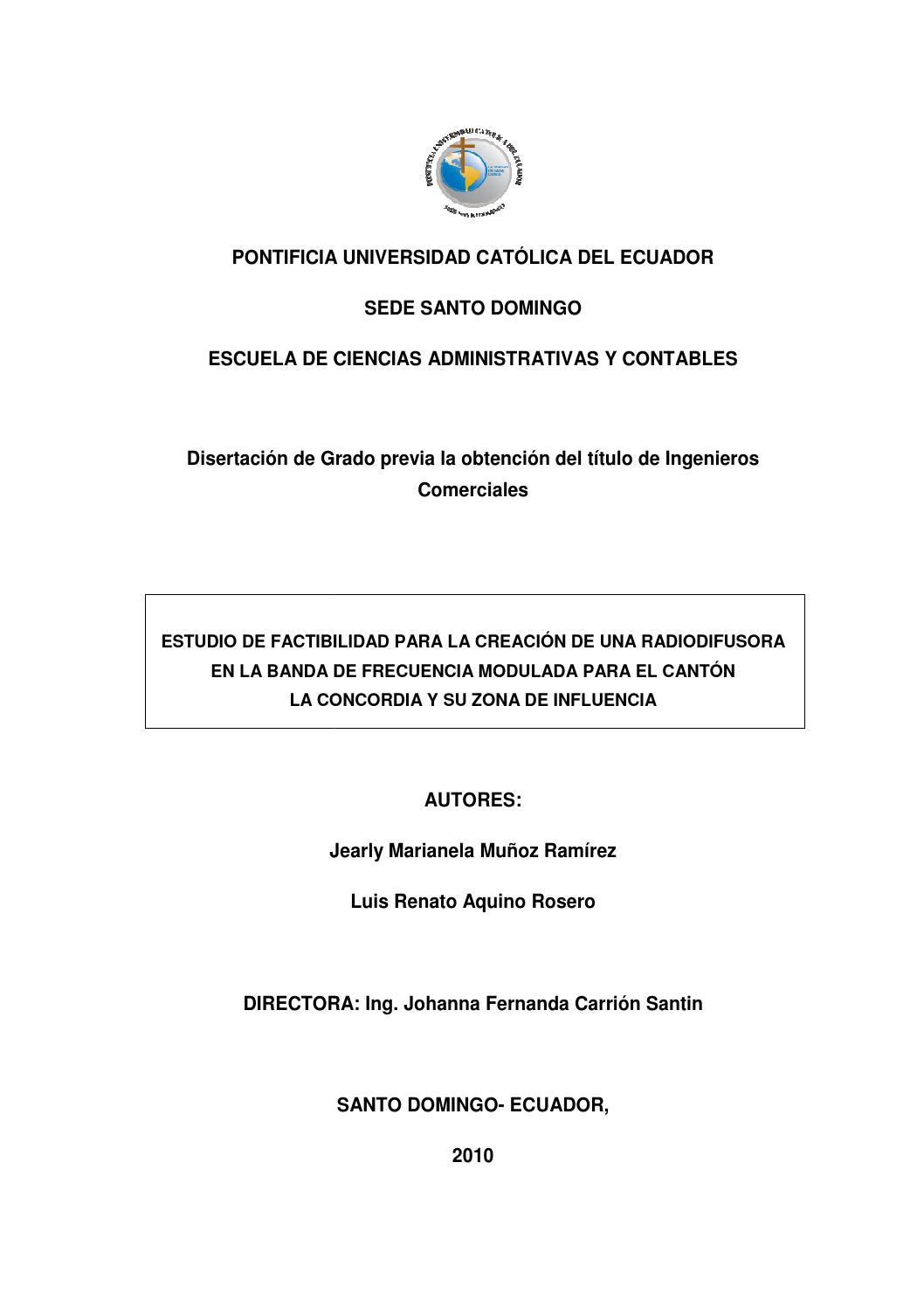 Creacion De Una Radiodifusora Para El Canton La Concordia Y Su Zona De Influencia By Pontificia Universidad Catolica Del Ecuador Sede Santo Domingo Puce Sd Issuu