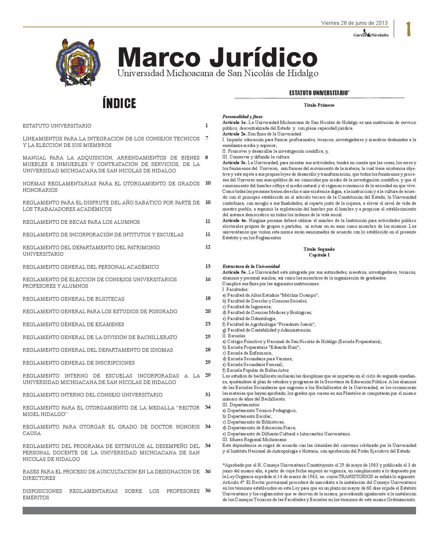 Inserto Marco Jurídico Gaceta 40 by Gaceta Nicolaita UMSNH - issuu