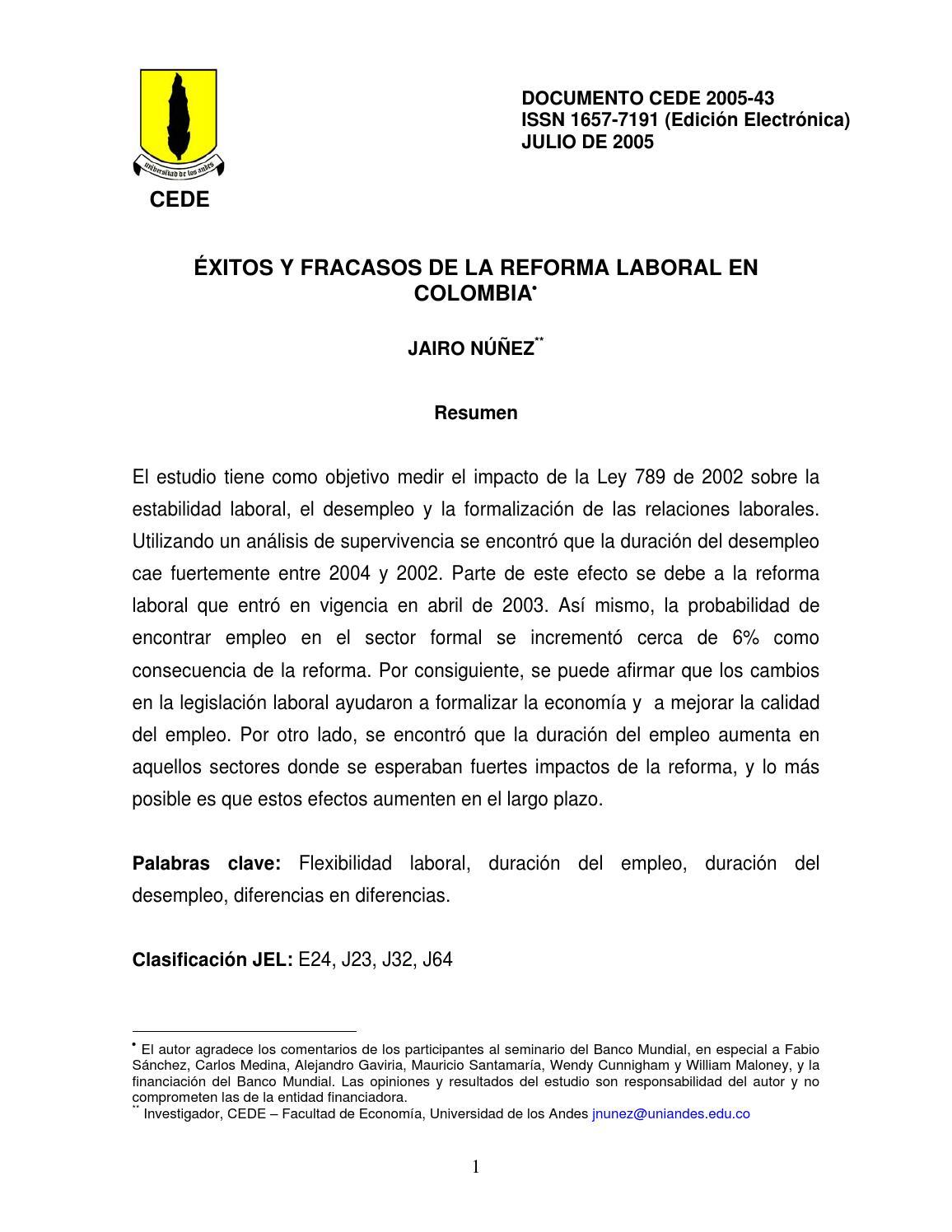 Éxitos y fracasos de la reforma laboral en Colombia by Carlos ...