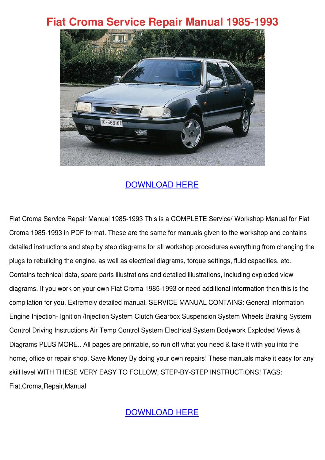 Fiat Croma Service Repair Manual 1985 1993 By Isabelgandy