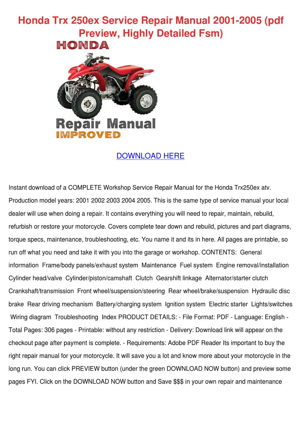 Honda Trx 250ex Service Repair Manual 2001 20 By Isabelgandy