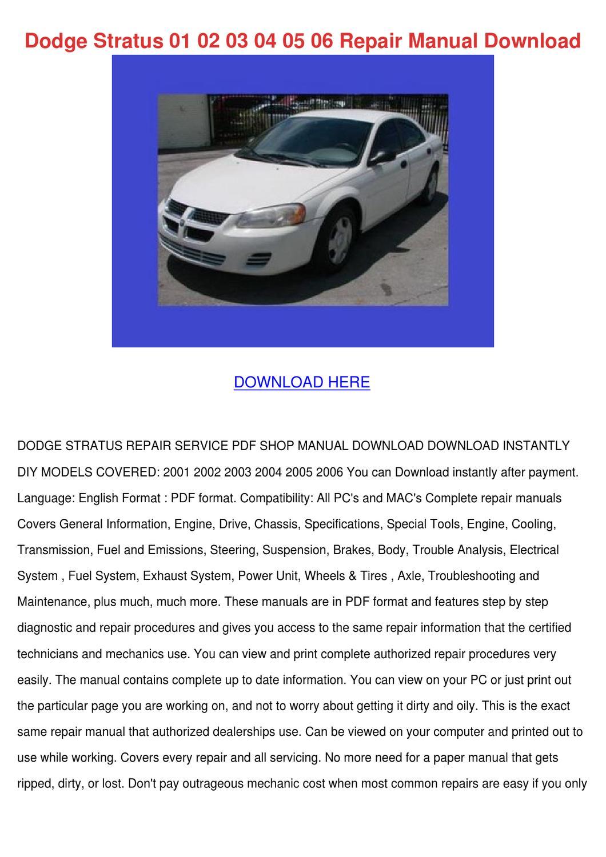 Dodge Stratus 01 02 03 04 05 06 Repair Manual by DaniBliss - issuu