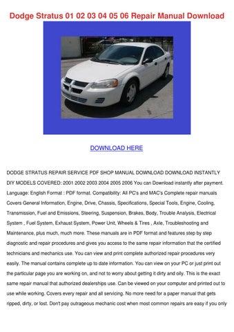 dodge stratus 01 02 03 04 05 06 repair manual by danibliss issuu rh issuu com 1997 Dodge Stratus Problems 2003 Dodge Stratus Radio Wiring Diagram