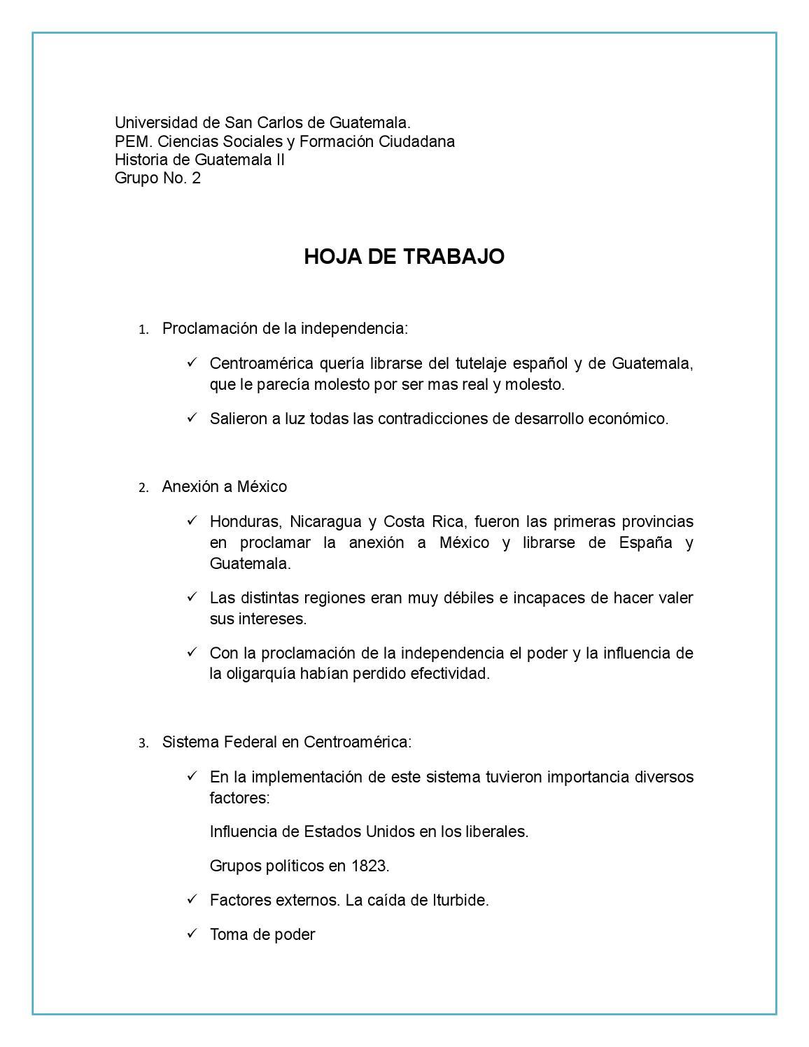 Hoja de trabajo grupal historia 2 by maria jose - issuu