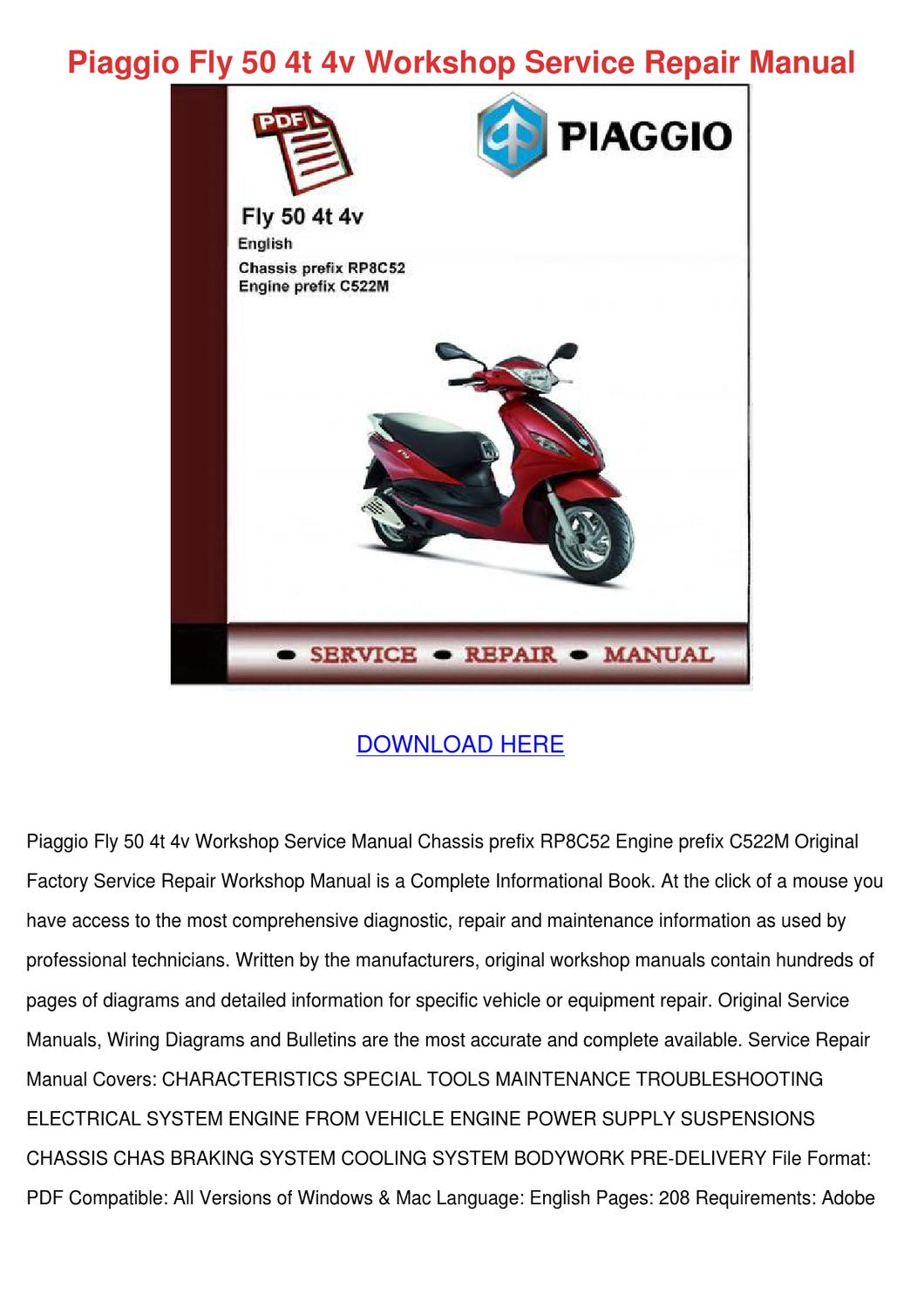 Piaggio Fly 50 4t 4v Workshop Service Repair By Stewartseaton