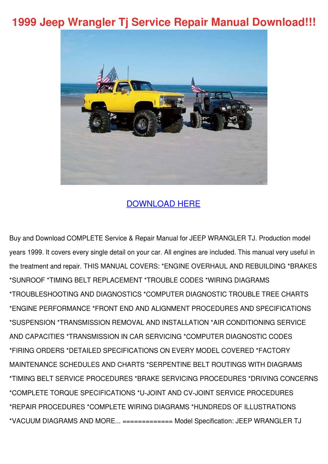 Jeep Wrangler Tj Factory Service Manual 2002 by ...