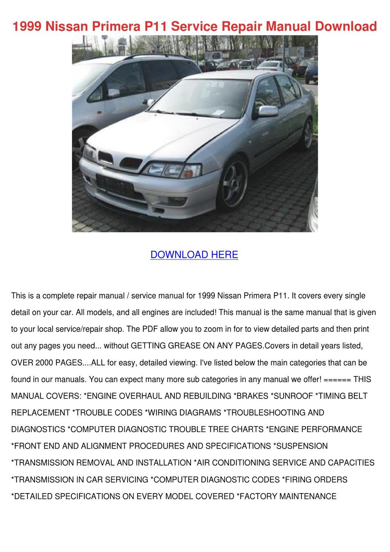 1999 Nissan Primera P11 Service Repair Manual by AntoinetteWillie ...