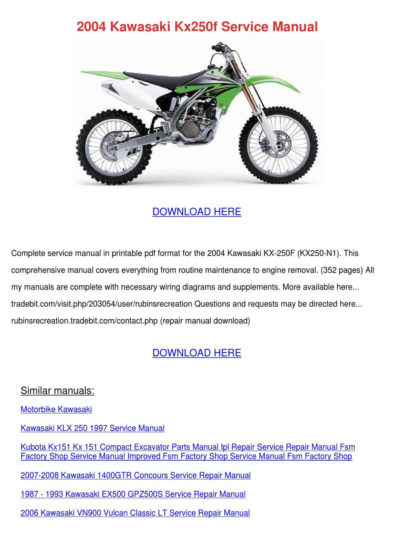 2004 Kawasaki Kx250f Service Manual By Antoinettewillie