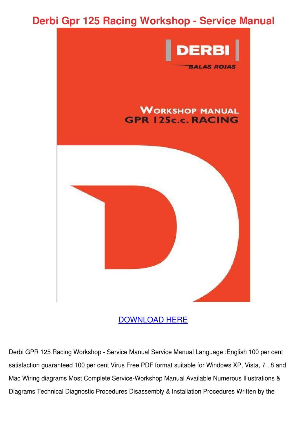 Derbi Gpr 125 Racing Workshop Service Manual By