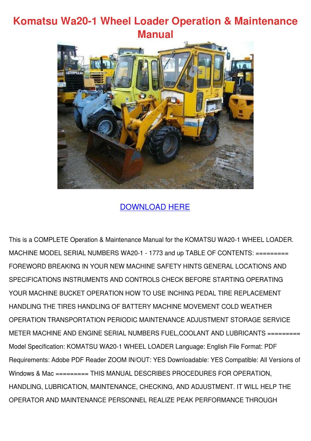 Komatsu Wa20 1 Wheel Loader Operation Mainten by HermelindaFishman - issuu